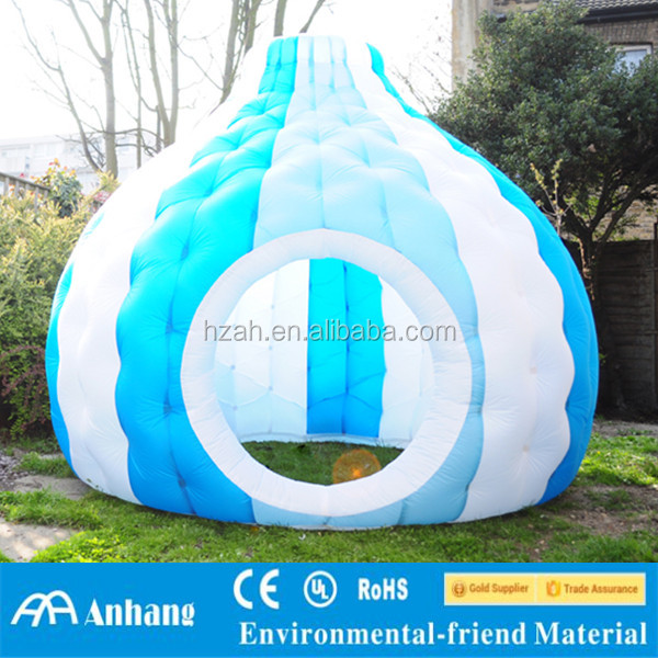 Small blue inflatable dome air tent
