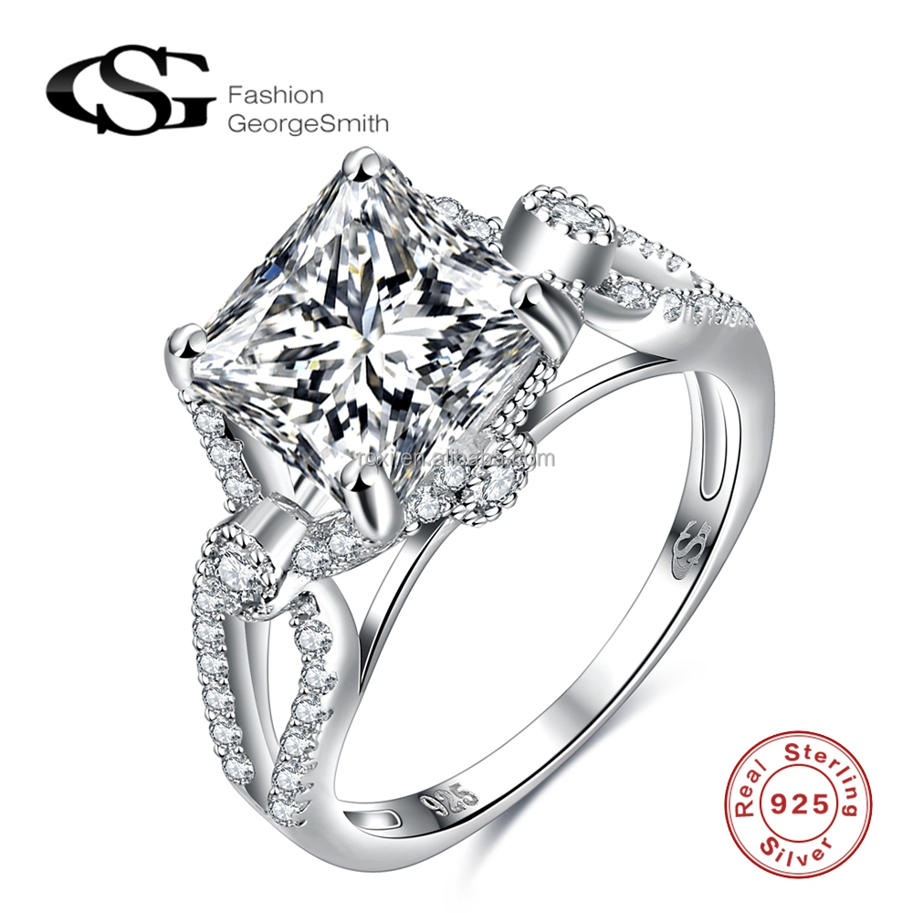 Factory price high quality 925 silver rings single square zircon women sterling silver wedding rings
