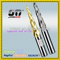 long flute carbide tapered ball nose end mills with side holder