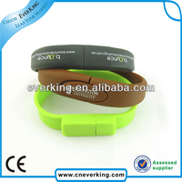 cheap customized logo silk screen printing usb wristband wholesale