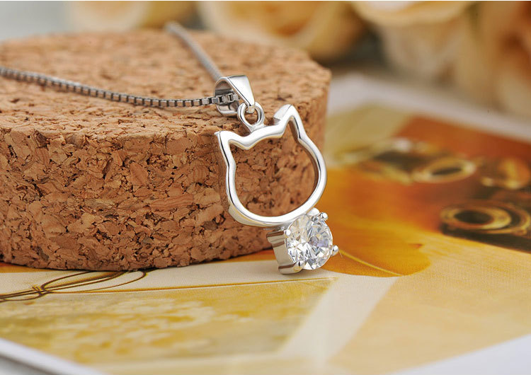 Daihe lovely kitty cat 925 sterling silver zircon necklace