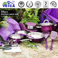 kitchen appliance 33pcs camping cookware mess kit stainless steel