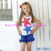 Lastest Girls July 4th Outfit Red Blue Sequin Star Tank Top with Ruffle Shorts Cheap Baby Girls Summer Clothing Sets IM-CS021