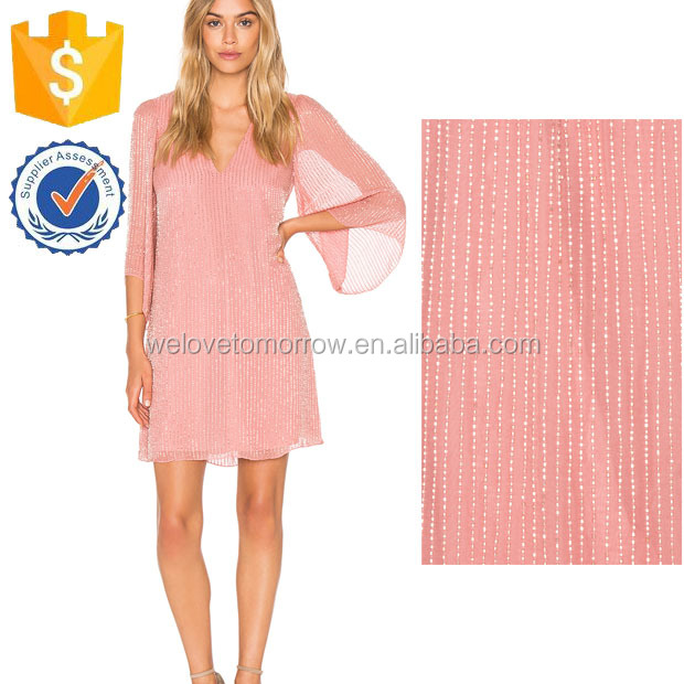 Busty Rose Sheer Kimono Sleeve Spring Mini Dresses For Ladies Manufacture Wholesale Fashion Women Apparel (TF0765D)