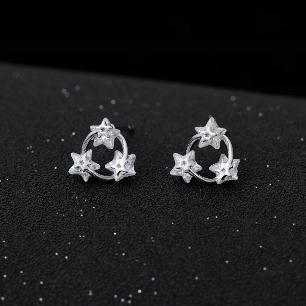 Fashion Women White Gold Stud Earrings Rhodium Plated Cubic Zirconia Crystal Cluster Star Shape Bridal Earring