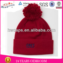 Fleece Custom Embroidery Red Knitted Cap Winter Beanie Hat
