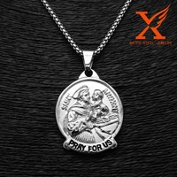 In Stock Stainless Steel Charm Pendants Oval Antique Jesus Casting Carved Saint Anthony