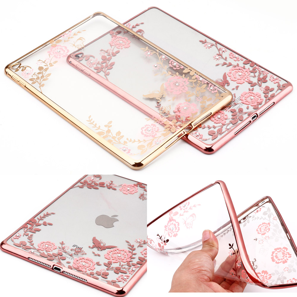 Secret flowers with diamond soft TPU electroplating frame back shell tablet Cover for ipad air 2 pro 9.7 Case