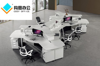 2015 6 person top design office workstation, modern white office workstation