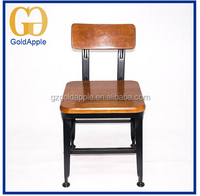 Industrial Outdoor Cafe wood Seat Metal Stool with wood top