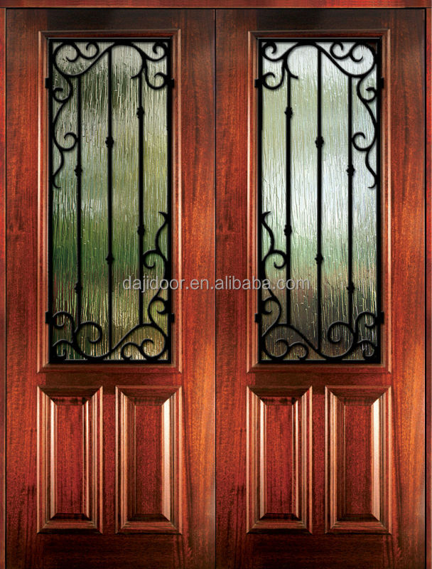 Two Panel Wrought Iron Double Doors In <strong>Wood</strong> DJ-S9162MW-1