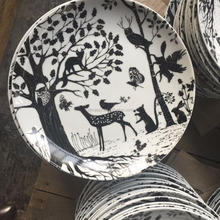 classic dark forest decal porcelain dinner plates foodware