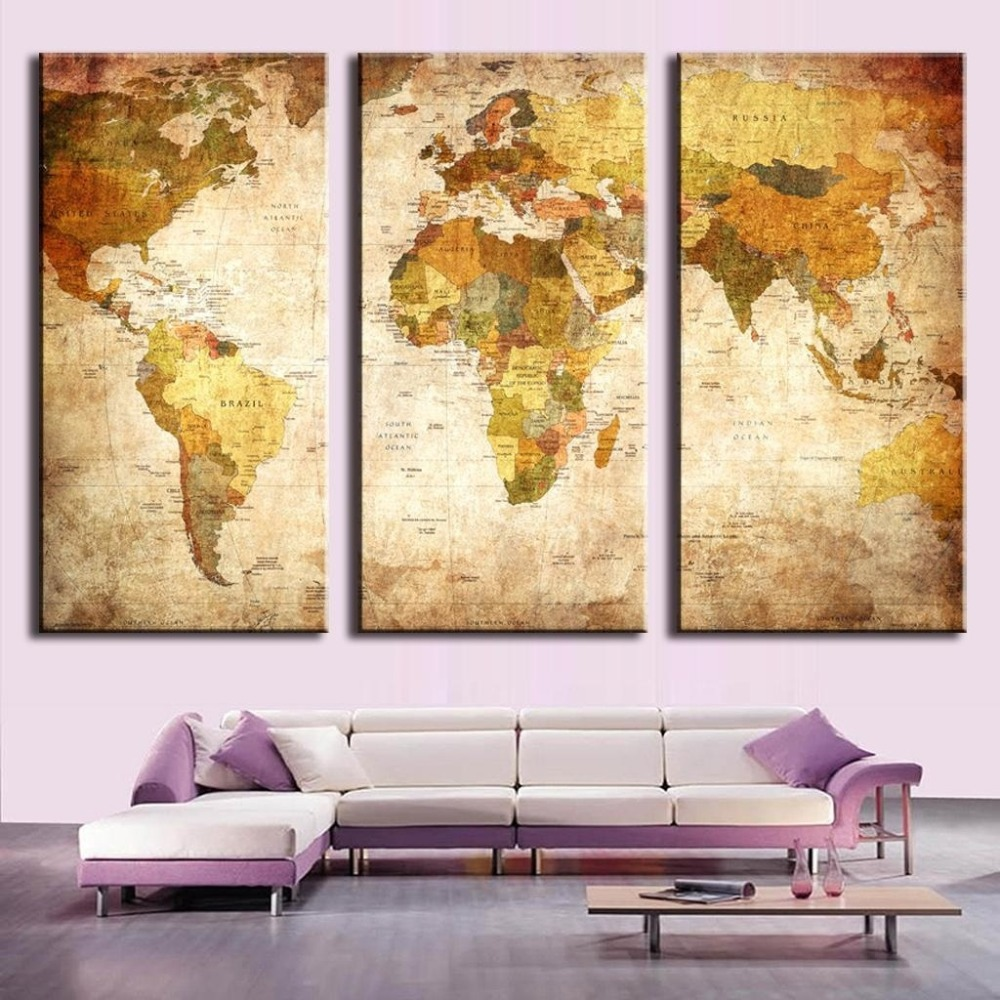 3pcs Modular Pictures Vintage World Map Canvas Painting Print On ...