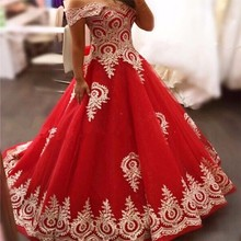 FA75 Hot Red And Gold Wedding Dresses For Sale Pictures Ball Gown V Neck Off the Shoulder Lace Trim Skirt Bridal Gowns