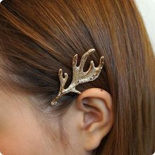 2017 new Christmas gift jewelry matt gold antler hair pin deer horn shape girl's hair clip