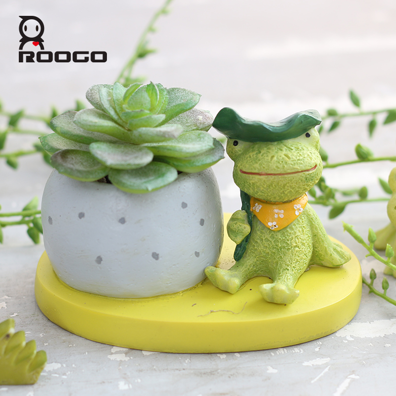 ROOGO sagittarius indoor decorative resin frog decorative flower planter pot