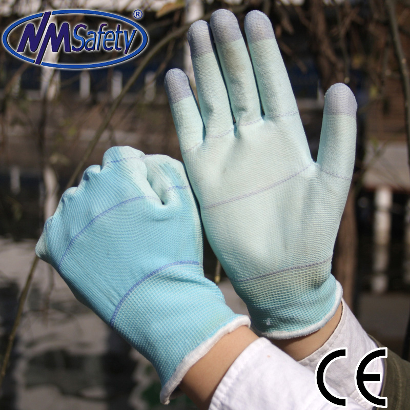 NMSAFETY good quality 13g knitted U3 liner blue PU glove for agriculture and gardening form China