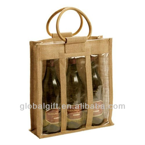 three bottle jute wine bag