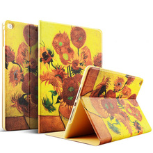Color Printing Smart Slim Magnetic Leather Stand Case Cover For 2017 New iPad