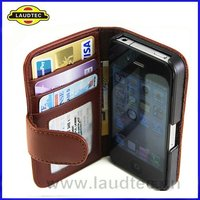 Crystal Wallet Leather Case for Apple iPhone 4 4S,leather wallet flip case cover,Christmas Promotion Gift----Laudtec