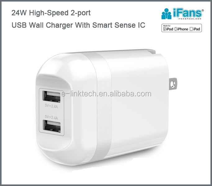 Foldable flat 2-Port USB Wall charger universal for cell phone and iPad tablet ,CE,ROHS,FCC certified