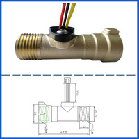 Magnetic water flow sensor meter brass ZG1/2'' 1~30L/Min. 8Hz(Pulse)/Liter