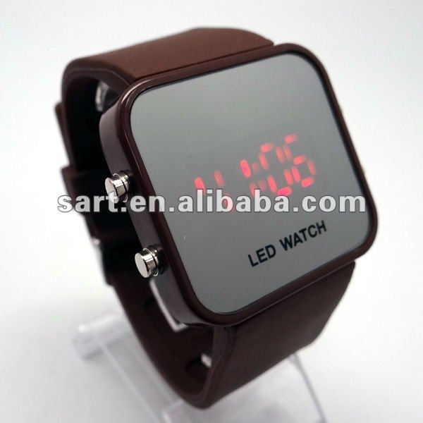 Classical brown Silicone digital LED men watch