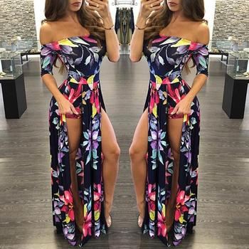 Romper Split Maxi Dress High Elasticity Floral Print Short Jumpsuit Overlay Skirt for Summer Party Beach