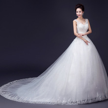 ZH1697D New arrival V neck white long tail a line wedding dress ball gown
