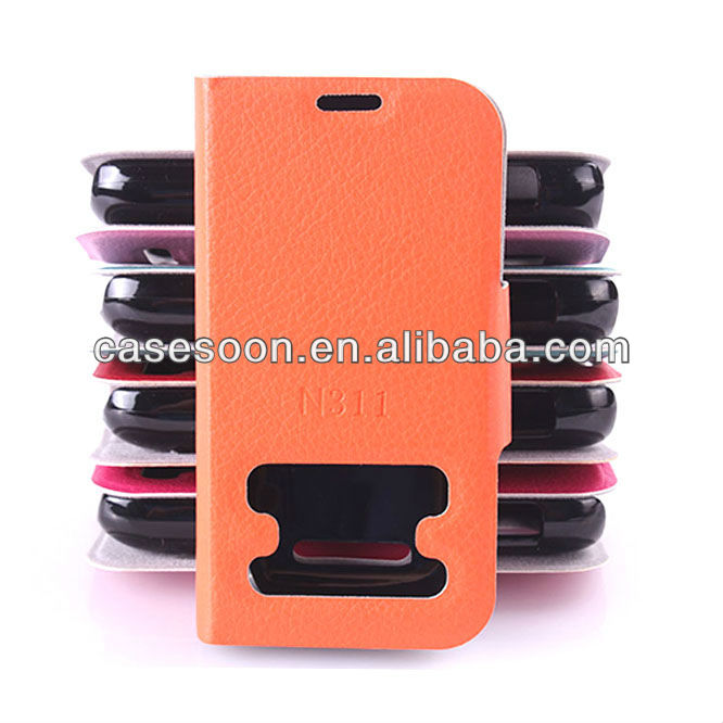 Lychee PU Leather case for Nokia Asha 311 With Stand with caller ID display function