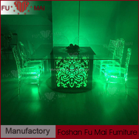 Contemporary wedding banquet dining glass top event furniture made in china