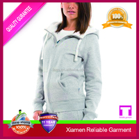 100% cotton french terry women's zipper hoodie sports suit