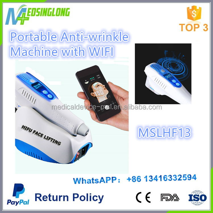 MSLHF13 Portable Mini anti-wrinkle Hifu machine with bluetooth, Smart face wrinkle remover