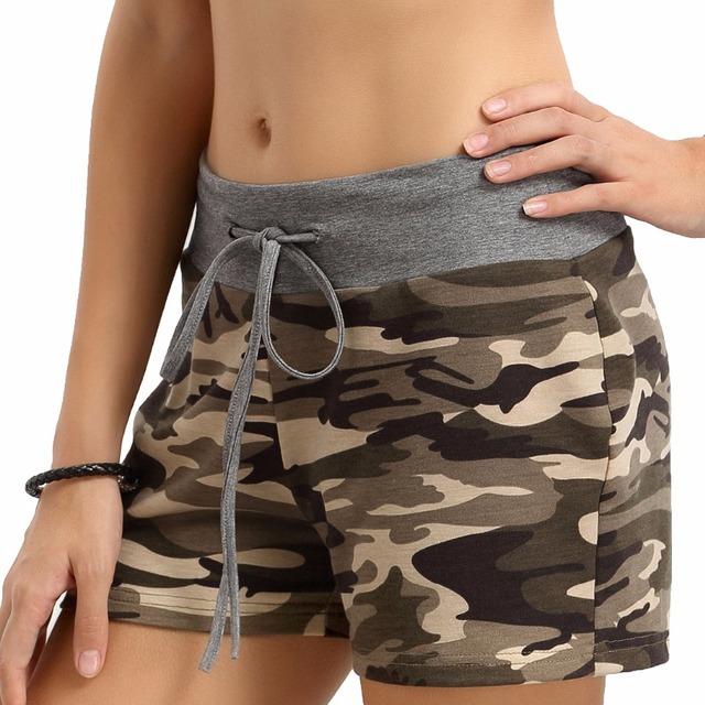 Custom Casual Women Camouflage Tie Waist Casual Shorts Pantalones Cortos