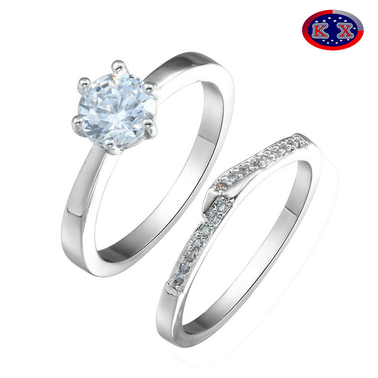 2pcs/set luxury cheap finger ring sets with CZ stamped 925
