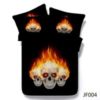 3D bedding Exclusive 3d Flaming Skulls HD printed lastest design bedspread