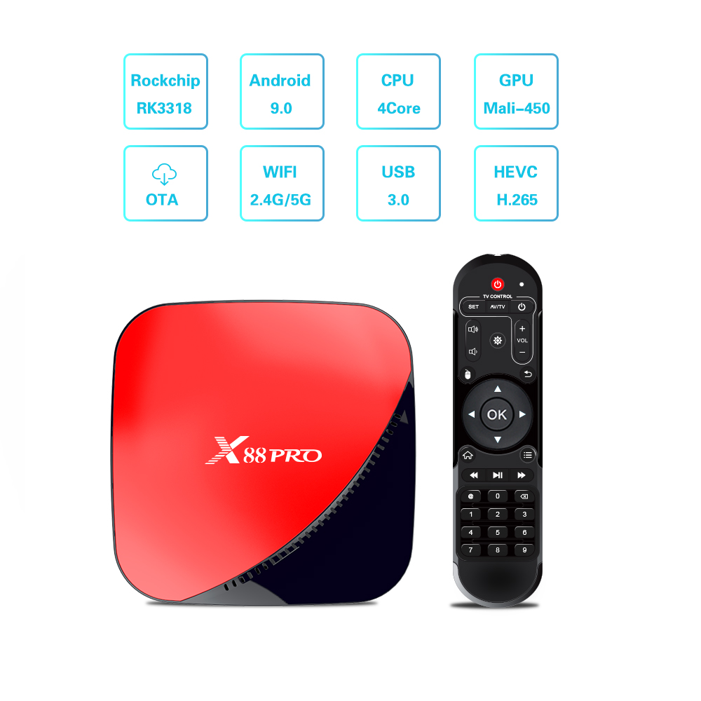 X88 pro TV Box RK3318 Android 9.0 Dual Wifi 2.4G/5G Wifi TV Box Three Color