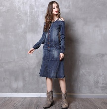 2019 Cheap price denim women long dresses from <strong>china</strong>