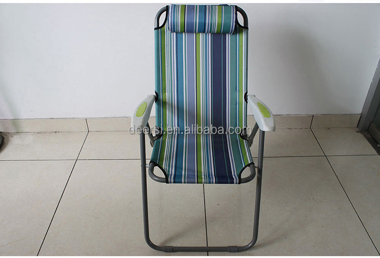 Portable Solid Leisure Folding Beach Chair Fabric with Customized Logo