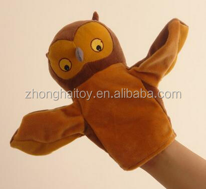 Chinese factory cheap hand puppet baby toy/ animal owl hand puppets for sale