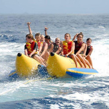 PVC tarpaulin customized water park sports air bed water inflatable flying fish banana boat for sale