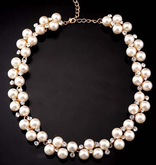 2016 New Charming Women's Fashion Shiny Alloy Golden Rhinestone Faux Pearl Beads Necklace Jewelry For Casual Wedding