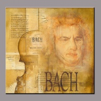 High quality pure hand-painted abstract oil painting portrait of Bach famous people