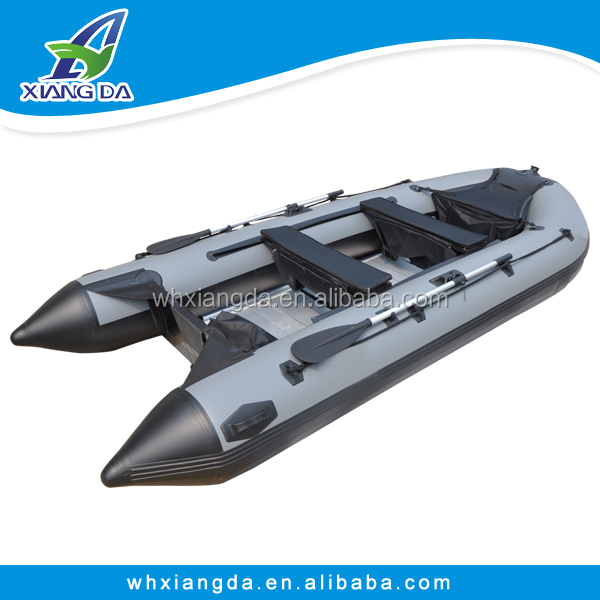 PVC hull inflatable boat with outboard motor