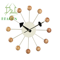 Modern beech wood natural color Ball Wall Clock