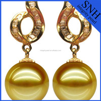 10-11 mm golden south sea pearl earrings