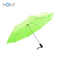 Light Green Promotional Auto Open And Close Black Handle 3 Fold Umbrella