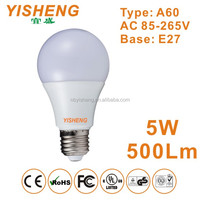 CE RoHS LED Lamp Wholesale China, A60 Globe LED Light Bulbs 5W E27 Lamp Holder, 500Lm