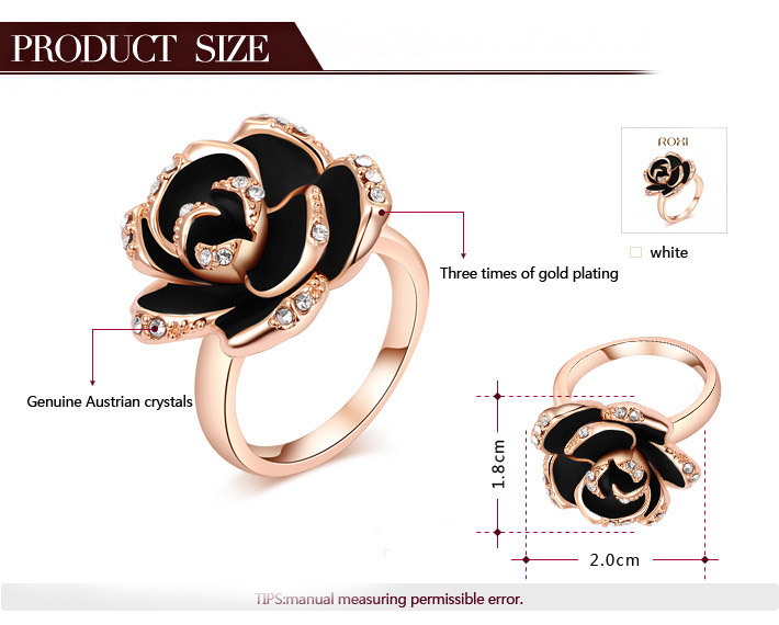 KN-25 High Quality Rose Gold Ring With Rhinestone