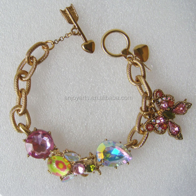 Bug and Jewels Gold Chain Bracelet Wholesale(Z10056d)
